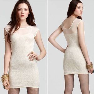 Free People Starlight Bodycon Gold and Cream Dress
